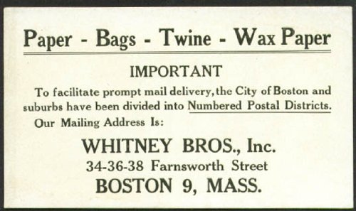 Whitney Bros Paper Bags Twine Boston MA blotter 20s from The Jumping Frog