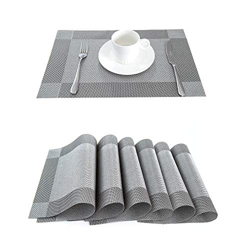 (LIFONDER Heat-Resistant Placemats Stain Resistant Anti-Skid Washable PVC Dining Table Mats Woven Vinyl Place Mats, Set of 6 (Silver-Grey))