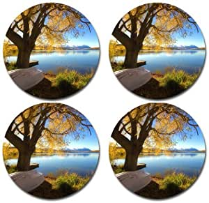 Scenic Lake Mountains Nature photo Rubber Round Coaster set (4 pack) Great Gift Idea
