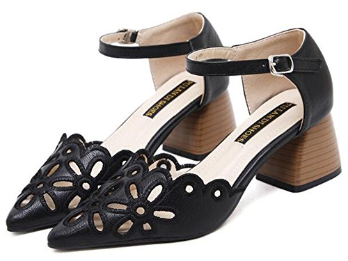 Sandals Women's Ankle Medium Stacked Pointed Elegant out Cut Black Aisun Heel Toe Buckle Block Strap SnpHOqOxwC
