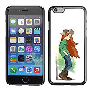 Shell-Star Arte & diseño plástico duro Fundas Cover Cubre Hard Case Cover para Apple iPhone 6(4.7 inches) ( Tomboy Girl Long Hair Art Painting Brown Boots )