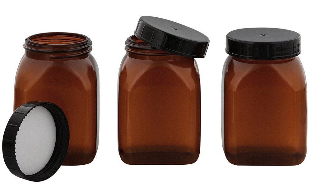 Vierkant-Weithals Behälter m. Schraubverschluss, Dose, Kunststoff Kosmetex Schraubdose, Plastik-Dose, leer, 100 ml, 3 x 100ml