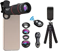 【2018 New Release】APEXEL Camera Lens Kit,18x Monocular telescope with Eyecup,0.63x Wide Lens,15x Macro Lens,198°Fisheye Lens ,Flexible Camera Mount Tripod with Remote Shutter for iPhone Samsung and huawei and most Andriod Smartphone