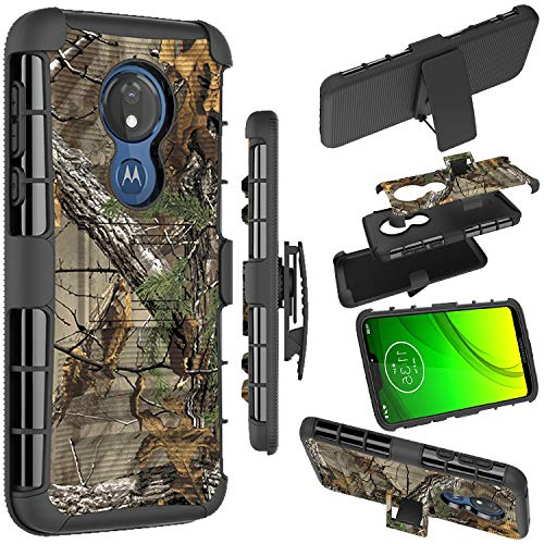 Moto G7 Power Case, Moto G7 Supra Holster Case, Zoeirc [Heavy Duty] Armor Shock Proof Dual Layer Phone Case Cover with Kickstand & Belt Clip Holster for Motorola Moto G7 Supra/Moto G7 Power (camo) (Camo Motorola Phone Case)