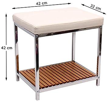 Badezimmer Hocker Badhocker NEU Chrome Sitzhocker Bambus Ablage ...