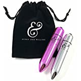 Ready and Willing Twin (2) Pack Mini Luxury Bullet Massagers Powerful 10 speed waterproof with microfiber storage bag (Metallic Pink and Chrome Silver)