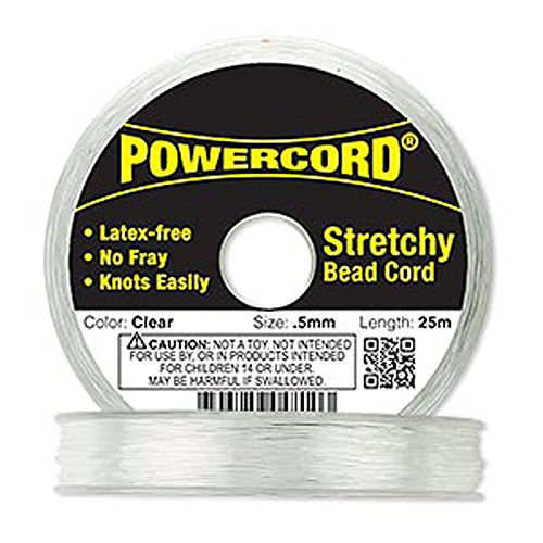 Powercord? Elastic Clear 0.5mm Diameter 5-pound Test. Sold Per 25-meter Spool. by Power Cord
