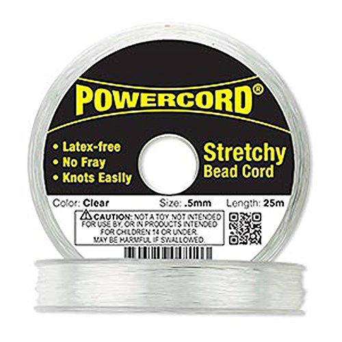 Powercord? Elastic Clear 0.5mm Diameter 5-pound Test. Sold Per 25-meter Spool.
