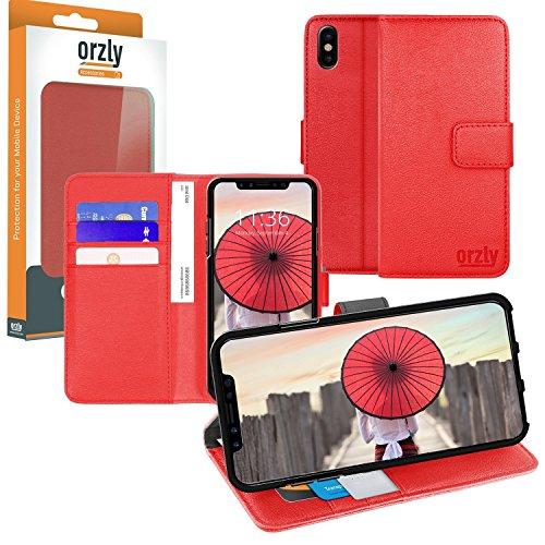 Funda iPhone X, Orzly Funda Multifunción para iPhone X/iPhone 10 (Modelo 2017) - Multi-Functional Wallet Stand Case - Funda/billetera con tarjetero, soporte integrado y cierre magnético en ROJO ROJO para iPhone X
