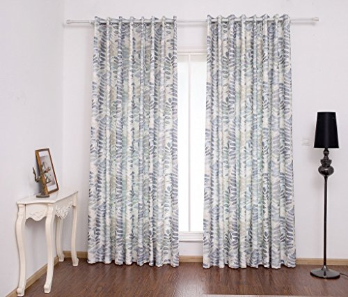 VIVOHOME Window Treatment Soft-color Leaves Printed Printed Thermal Insulated Curtain, Two Panels with Grommets, Multicolor (57.08Wx83.85L)