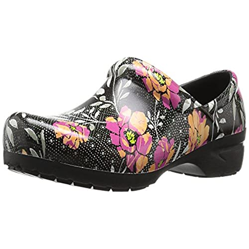 AnyWear Women's Srangel Health Care and Food Service Shoe,  Black/Pink/Orange, 8 M US