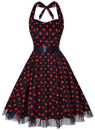 OTEN Women's Vintage Polka Dot Halter Dress 1950s Floral Sping Retro Rockabilly Cocktail Swing Tea Dresses ()