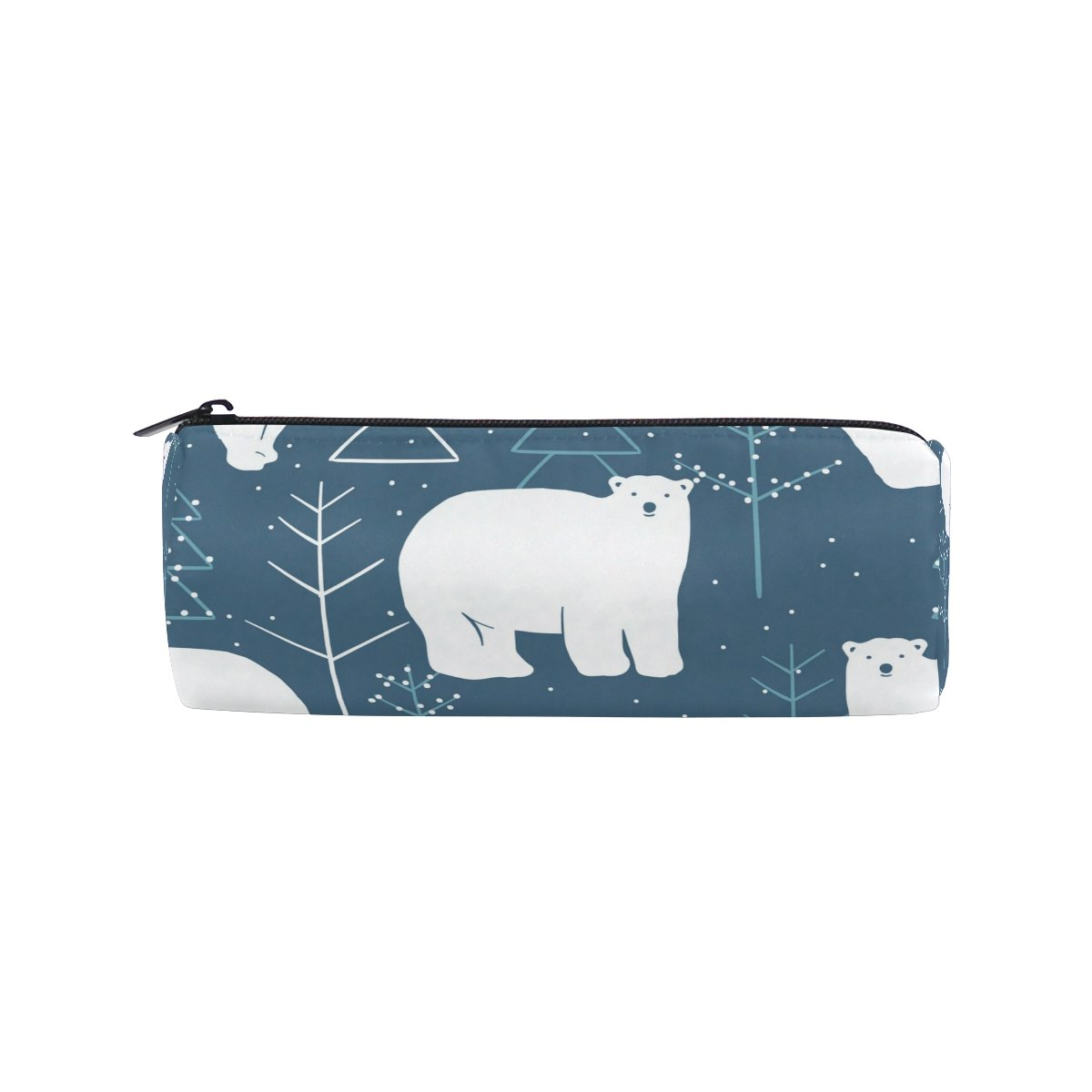 Cooper Girl North Pole Polar Bear Pencil Bag Pen Case Students Stationery Pouch Zipper Bag for Girls Boys Kids