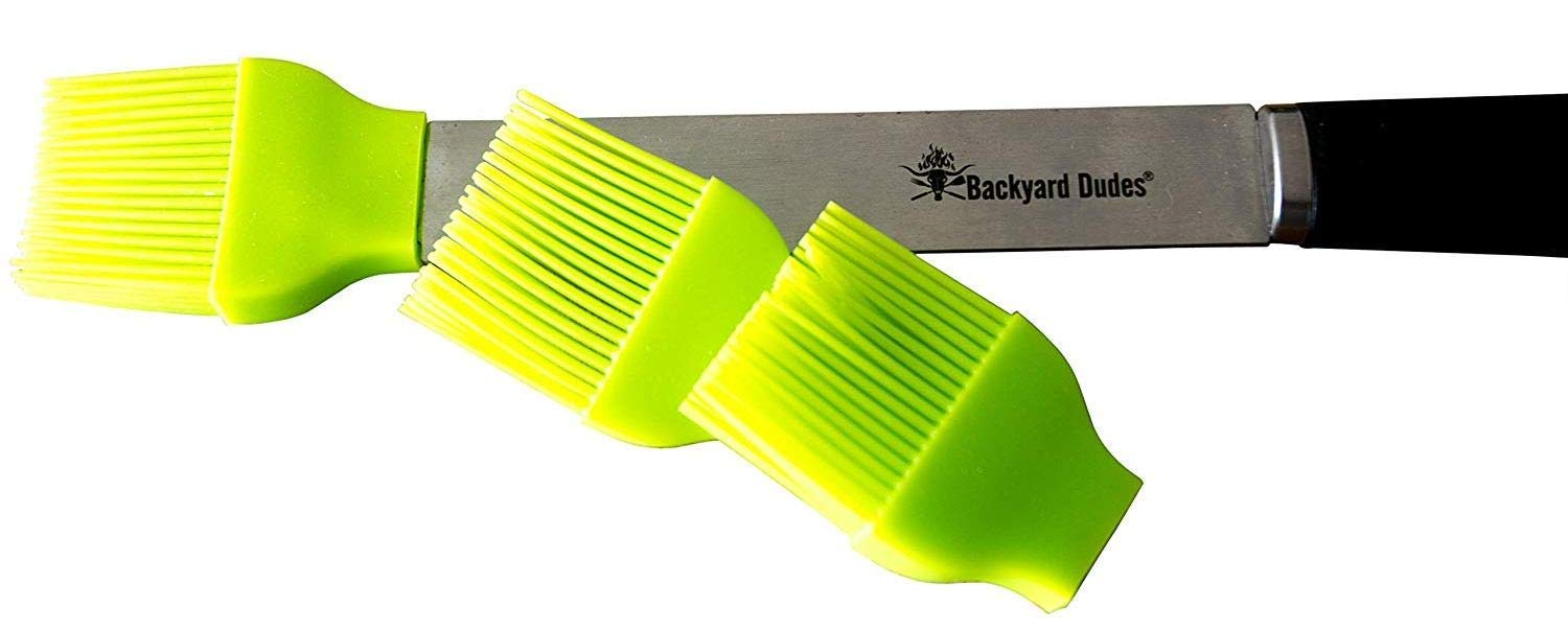 Backyard Dudes® BBQ Stainless Steel Silicone Basting Brush with 2 Replacement Silicone Heads (Pack of 3)