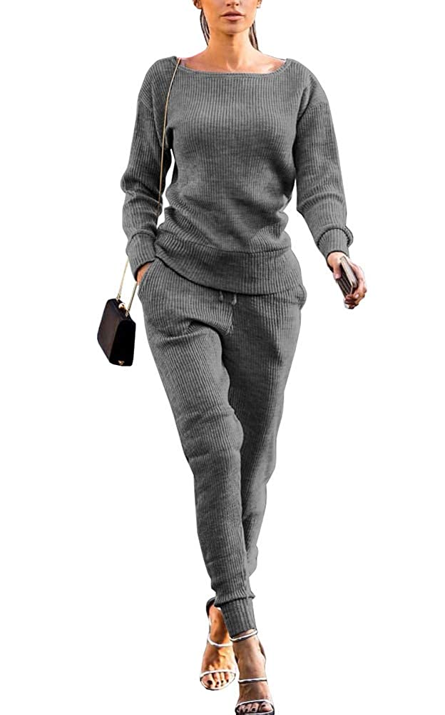Womens Cowl Neck Tracksuit 2 Piece Sport Sweater Tops Long Pants Outfits Set US