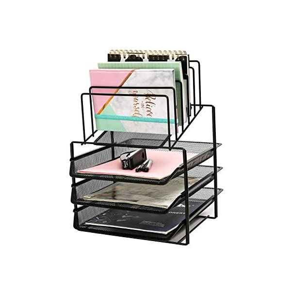 Exerz Mesh Desk Organizer Office Supplies 3 Trays/Desktop File Holder with Sliding Drawer and Hanging File Holder/Vertical Upright Section for Office Home