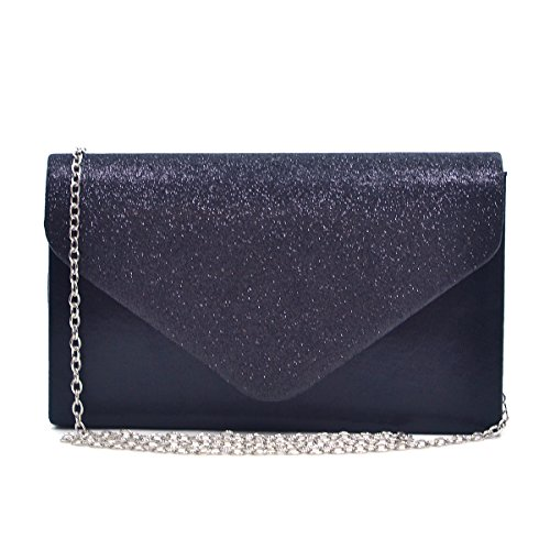Womens Envelope Flap Clutch Handbag Evening Bag Purse Glitter Frosted Sequin Party Black