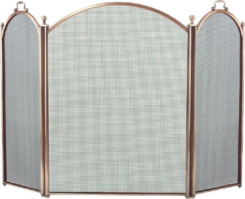 Antique Brass 3 Fold Arched Screen - 34 inch