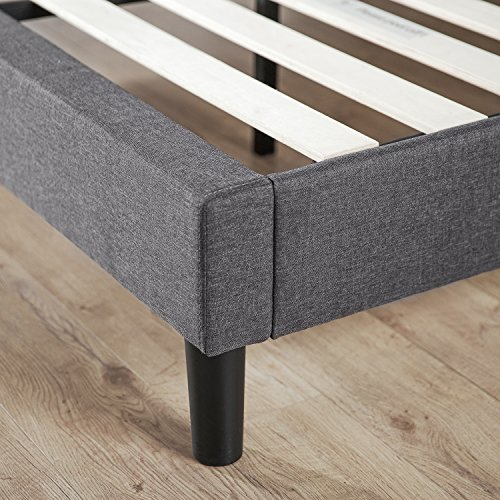 Zinus Curtis Essential Upholstered Platform Bed Frame / Mattress Foundation / Easy Assembly / Strong Wood Slat Support, Queen