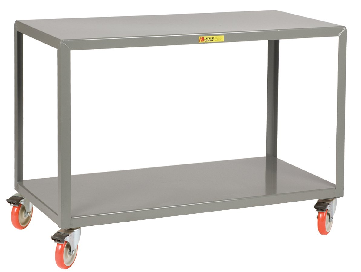 Little Giant IP-3060-2-TL Steel Mobile Tables with Total Lock Casters, 1000 Capacity, 60'' Length x 30'' Width x 34'' Height, 2 Shelves