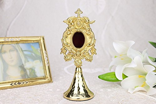 Monstrance Reliquary Cross With Angel Pattern New Small Church Chapel Gold Relic Ornate Case 7 5 8  H X5