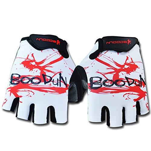 (UPANBIKE Half Finger Gloves Shock Absorption Padded Soft Breathable for Outdoor Exercise Cycling Racing Skate Roller-Skating Skateboard Gloves for Children Men Women(Large,White))