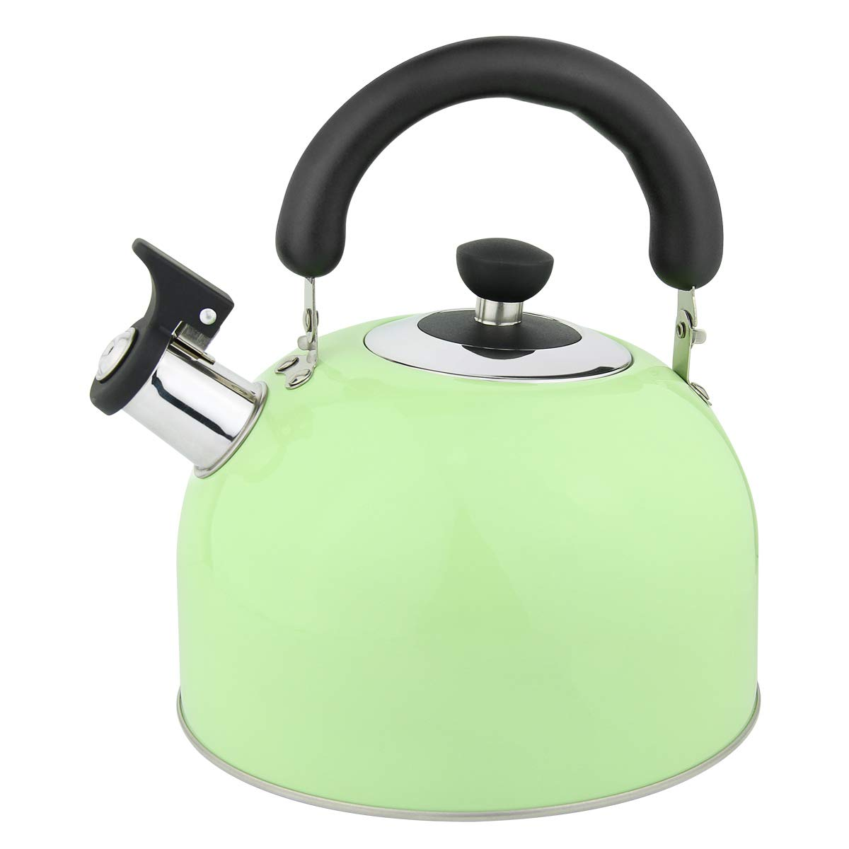 Riwendell 3.2 Quart Whistling Candy ColorTea Kettle Stainless Steel StoveTop Teapot GS-04025-3L, Green