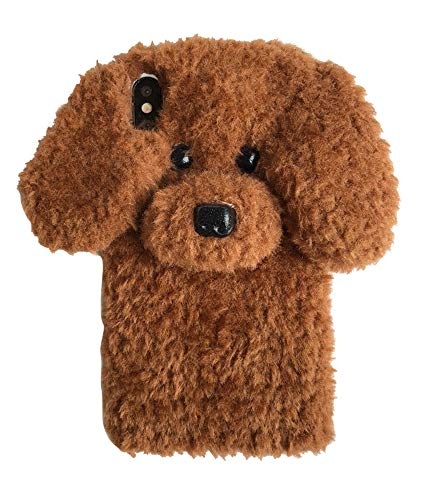 UnnFiko Super Cute Teddy Dog Fluffy Fur Case Compatible with iPhone 7 Plus/iPhone 8 Plus, Fuzzy Furry Warm Plush Soft TPU Winter Case Protective Covers (Teddy Brown, iPhone 7 Plus / 8 Plus)