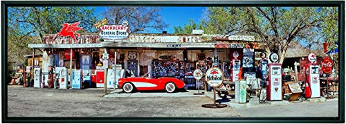 12 X 36 Inch Framed Panoramic Canvas Gallery Wrapped Photograph of Red Vintage Corvette and Gas Station Pumps on Rt66 in Hackberry, Arizona.