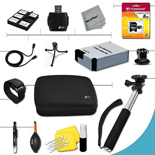 Xtech Essential 15 piece Accessory Kit for GoPro HERO2 Hero 2 Digital Camera Includes an 8GB High Speed Memory Card + High Capacity AHDBT-301 Battery + Hand Held Monopod with a GoPro tripod mount + Well Padded Camera Case + Gold plated HDMI Cable + Remote by Xtech