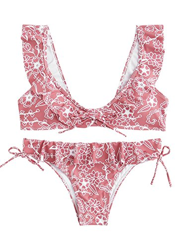 SOLY HUX Women's Flower Print Knot 2PCS Ruffle Strap Bikini Set Pink M