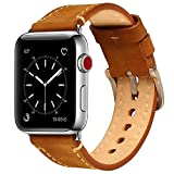 Compatible Apple Watch Band 42mm Mkeke Genuine Leather iWatch Bands Vintage Brown