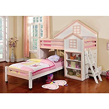 Amazon.com: Citadel House Design White & Pink Finish Dual Twin ...