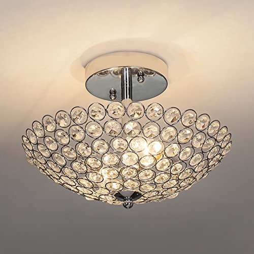 POPILION Modern Design Stainless Steel 2 Light Ceiling Flush Mount Crystal Chandelier Lighting,Crystal Ceiling Light Suitable for Bedroom, Living Room (Sparkly Light Fixture)