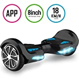 TOMOLOO Hoverboard 8.0 inch with Bluetooth Speaker and Lights - Black Hover Board with App UL2272 Certified…