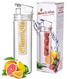 Infuser Water Bottle 27 Ounce - Updated for 2015! - FREE Recipe Booklet with Order* - Made of Eastman Tritan™ - Create Your Own Flavored Water, Naturally, with Ingredients YOU Select | The Fun & Healthy Way to Enjoy Your Daily Water.