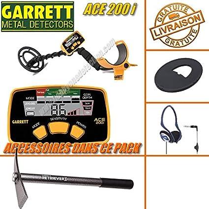Garrett – Detector de metales de Ace 200i con protector de plato + auriculares + pico