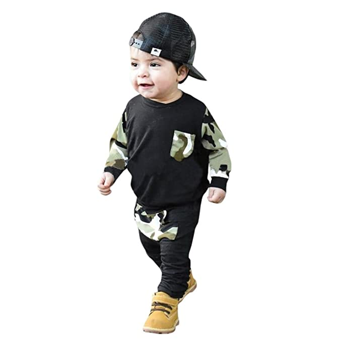 Ropa Bebé, Camuflaje Camisetas de bebé niños + Pantalones para bebé 2Pcs Ropa de Conjunto 3 Mes - 2 Años