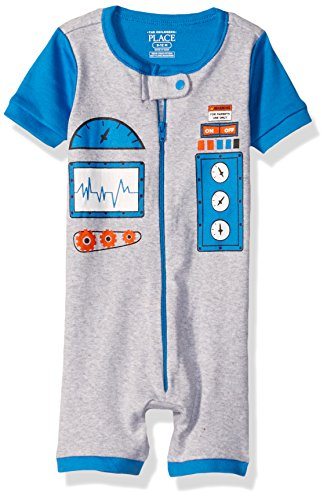The Children's Place Baby Boys Short Sleeve One-Piece Pajamas, Robot (Mist) 78623, 6-9 Months