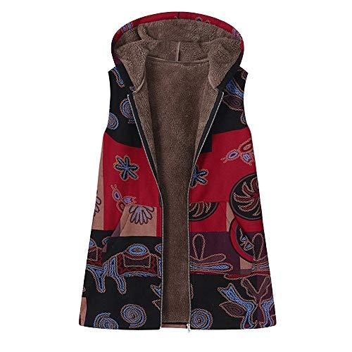 VEZAD Plus Size Women Hooded Sleeveless Cotton Linen Fluffy Fur Zipper VES Coat
