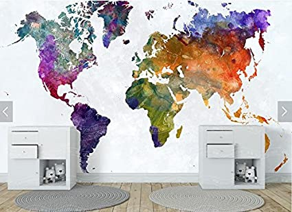 HUANGYAHUI Mural 3D Stereo World Map Wallpaper Watercolor Brick Retro Study
