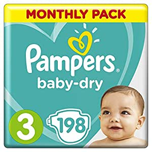 Pampers Baby-Dry Nappies Size 3 Crawler (6kg-10kg), 198 Nappies, Monthly Pack