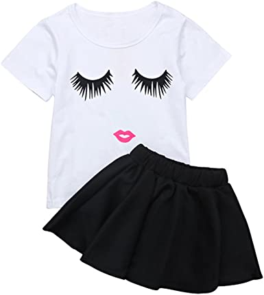 Toddlers Little Princess Girls Baby Short Sleeve Tops with Printed Skirt Outfits Two-Piece Dress Up