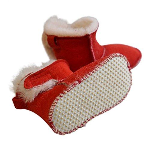 Hollert German Leather Fashion Baby Lammfellschuhe - mit Klettverschluss Kinder Hausschuhe Boots Merino Schaffell Rot