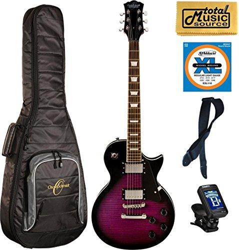 Oscar Schmidt OE20FTPB 6-String Solid-Body Electric Guitar – Trans Purple,Gigbag Bundle, OE20FTPB BAGPACK