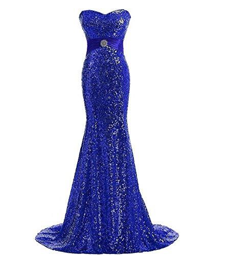 Bustier Pleine De Paillettes Sirène Robe De Soirée De Bal De Mariage Bleu Royal Long Train « Femmes Drasawee
