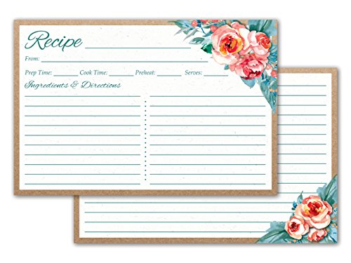 Crown Bee Printworks Recipe Cards 4x6 Double Sided (Floral) 50/set - Thick Cardstock, Made in the USA by Crown Bee Printworks