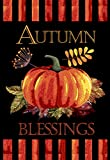 Morigins Fall House Flag with Pumpkin - Autumn Blessings Double Sided Decorative Flag 28x40 Inch