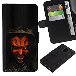 All Phone Most Case / Oferta Especial Cáscara Funda de cuero Monedero Cubierta de proteccion Caso / Wallet Case for Samsung Galaxy S5 Mini, SM-G800 // Darth Maul