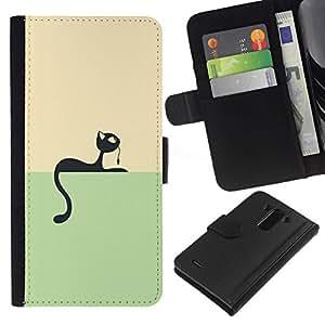 All Phone Most Case / Oferta Especial Cáscara Funda de cuero Monedero Cubierta de proteccion Caso / Wallet Case for LG G3 // Black Vector Cat